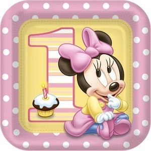Minnie Mouse 9 Inch Square Lunch Dinner Plates